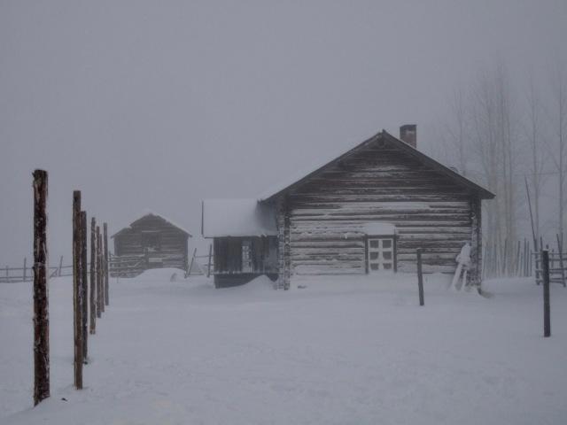 Lumiset talot lumisateessa.