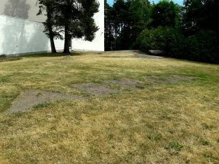 Keravan kirkon edustalla on kuivuneita laikkuja nurmikolla. Muutenkin nurmikko on kellastunut.