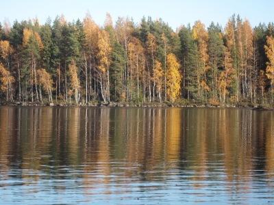 Järvimaisema, jossa on ruska näkyvillä.