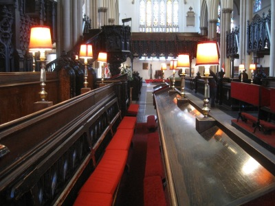 Leeds Minster -kirkko sisältäpäin kuvattuna.
