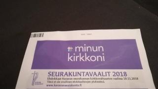 Seurakuntavaalikirje vuodelta 2018.