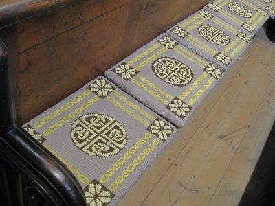 Leeds Minster -kirkon penkin pehmusteita Iso-Britanniassa.