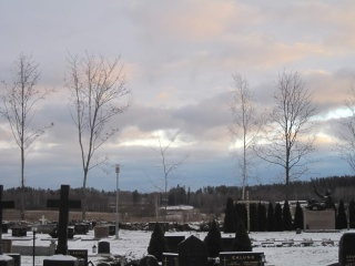 Hautausmaa talvella.