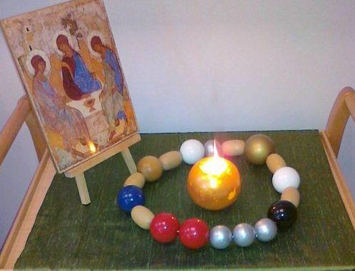 Pöydällä asetelma, jossa Martin Lönnebon kehittämät rukoushelmet (frälsarkransen), niiden keskellä palaa kultainen pallokynttilä ja vieressä on Pyhän kolminaisuuden ikoni.