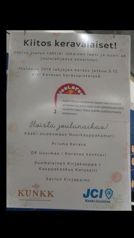 Kuvassa juliste, jossa kerrotaan Joulupuukeräyksestä ja kiitetään keravalaisia siihen osallistumisesta.