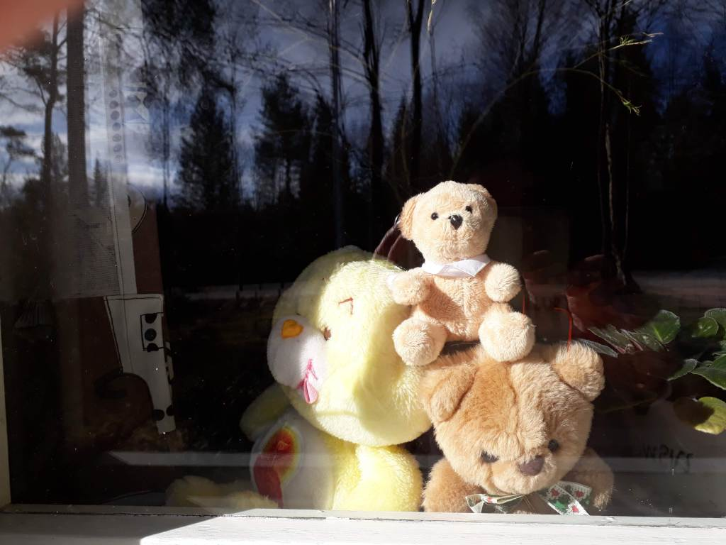 Mumminmökin ikkunalla nallet katsovat maailmaa ja osallistuvat karanteeniajan nallehaasteeseen.