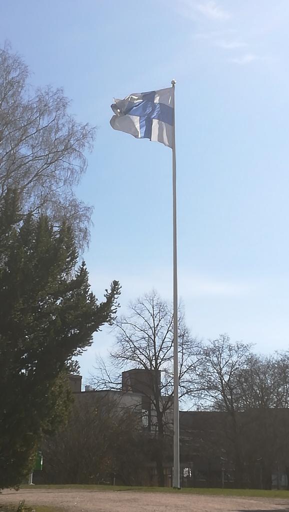 Kuvassa Suomen lippu tangossaan hulmuamassa.